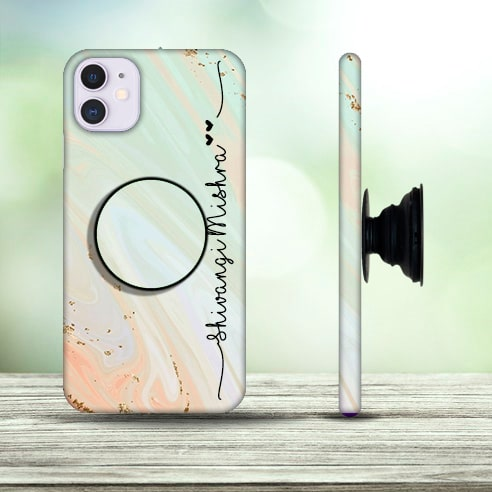 Marble name phone cover with Pop Holder