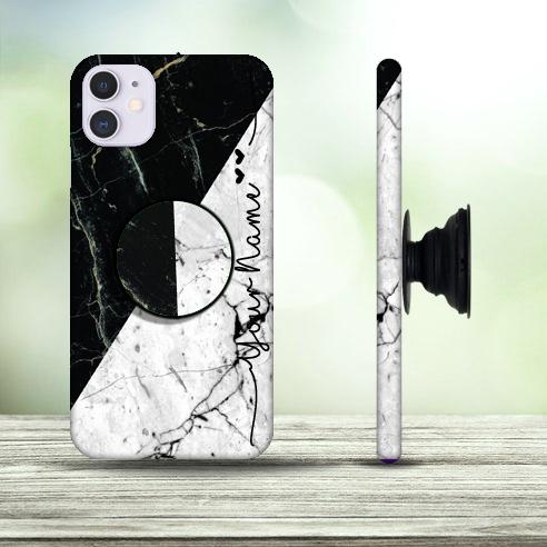 14 – Black & White Marble Design Phone Case with Pop Holder