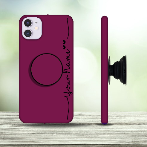 34 – Custom Name Plain Mehroon Color Phone Case with Pop Holder