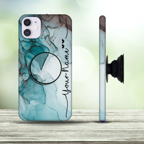 37 – Dark Blue Marble Design Custom Phone Case with Pop Holder