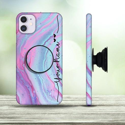 38 – Multicolor Liquid Marble Design Phone Case with Pop Holder